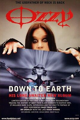 Ozzy Osbourne 2001 Down To Earth Album Promo Poster Original