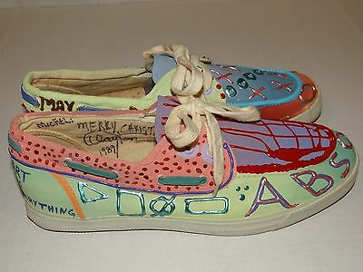 Rare CLAYTON LeFEVRE 1-Of-A-Kind Hand Painted/Signed Canvas Shoes ABSOLUT VODKA