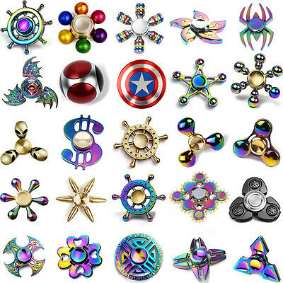 Fidget Spinner Rainbow Metal Hand Spinner EDC Fingertip Gyro Anti Stress Toy LED