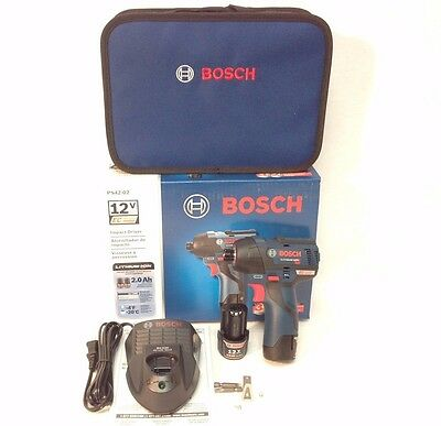 Bosch PS42-02 12V Max 2.0Ah Li-Ion EC Brushless 1/4 in. Hex Impact Driver Kit