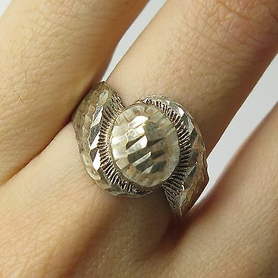 925 Sterling Silver Diamond Cut  Wide Ring Size 9 1/4