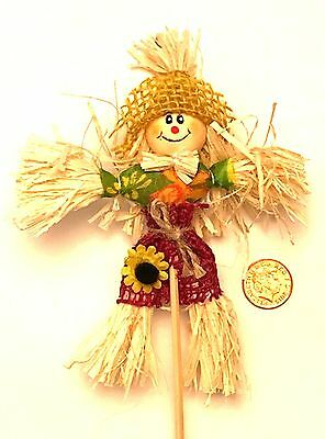 1:12 Real Straw Scarecrow Dolls House Miniature Garden Furniture Accessory YH