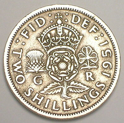 1951 UK Great Britain British Two 2 Shillings Crowned Rose Coin VF