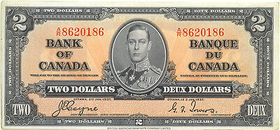 Bank of Canada 1937 $2 Two Dollars Coyne- Towers A/R Prefix EF++ King George VI