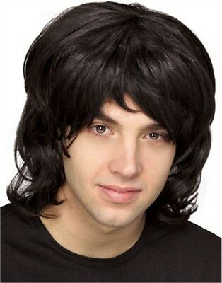 Adult Mens Black 70s Hippie Costume Shag Shaggy Wig