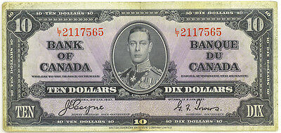 Bank of Canada 1937 $10 Ten Dollars Coyne-Towers L/T Prefix VF