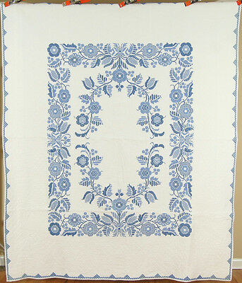 WELL QUILTED Vintage 40's Blue & White Floral Hand Stitched Antique Quilt!