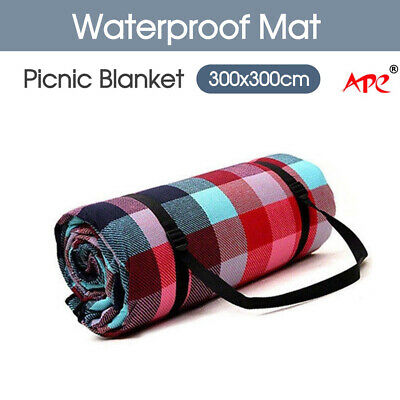 Extra Large 3m*3m Picnic Blanket Mat Cashmere Waterproof Rug Outdoor Camping