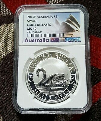 2017 P Australia 1 oz .999 Silver Swan Coin  $1 NGC MS69 ER (Exclusive Label)