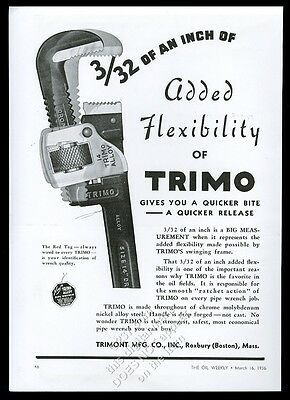 1936 Trimont Trimo pipe wrench art vintage trade print ad
