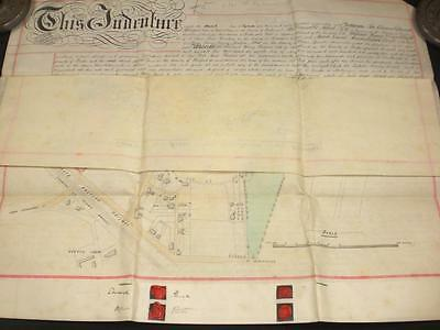 1888 Vellum Indenture, Sandhurst, Berkshire + Large Map/plan & Seals, A-Grade