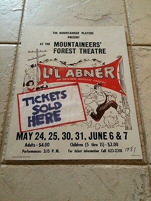 1981 Mountaineer Players Forest Theatre Li'l Abner Poster 11X14 Musical Comedy