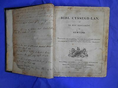 1841 ANTIQUE WELSH FAMILY BIBLE Brazel Brazell Wales & USA emigration Carms Glam