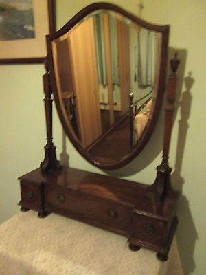 Antique very large oak dressing table mirror on upright arms with drawers NOW£40