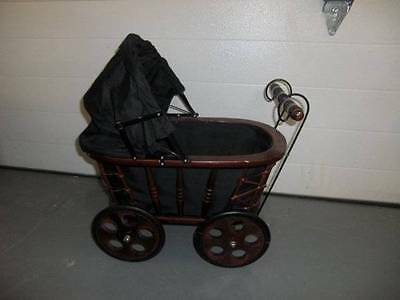 "Beautiful Wood Doll Carriage Pram for Displaying Dolls or Teddy's 22"" Tall"