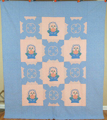 WELL QUILTED 30's Vintage MARIE WEBSTER French Baskets Applique Antique Quilt!