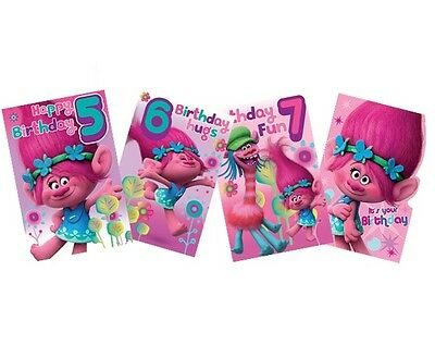 TROLLS Birthday Cards - Card/Party/Greetings Cards/Age/1/2/3/Gift Wrap