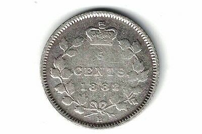 Canada 1882 H 5 Cents Small Nickel Queen Victoria Sterling Silver Coin
