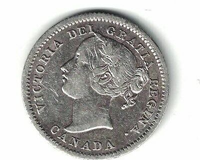 Canada 1858 10 Cents Dime Queen Victoria Sterling Silver Coin Decent Grade