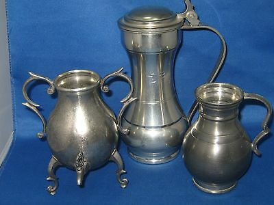 Lot 3 Antique German Pewter Pitchers w/ Faucet, Handles & Lid Engraved very nice