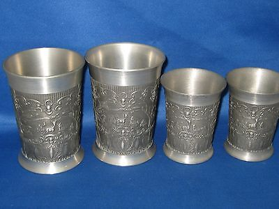 Lot 4 Antique German Embossed  Pewter Feinzinn Cups Engraved 3 Scenes W/Deer/Dog