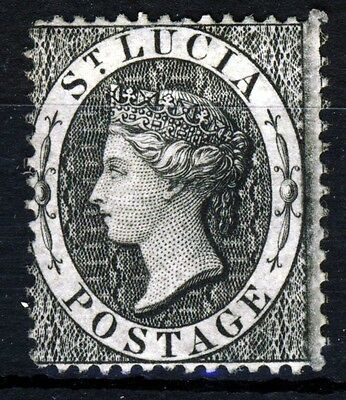 ST LUCIA Queen Victoria 1876 One Penny Black Perf 14 Wmk Crown CC SG 15 MINT