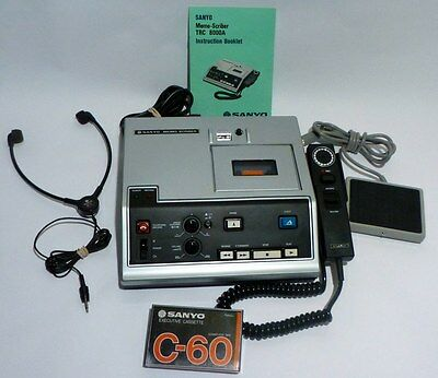 Sanyo Transcribing Dictation Machine Memo Scriber TRC 8000A Complete Instruction