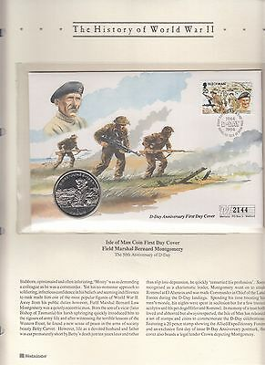 Isle of Man FDC Field Marshal B Montgomery FDC with D Day 1 Crown D Day Coin.