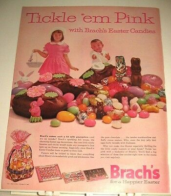 1962 BRACH'S Tickle 'em Pink EASTER Candy Ad ~ boy & girl