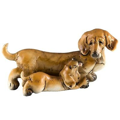 """Dachshund With Puppy Dog Figurine 4.5"""" Long Resin New In Box!"""