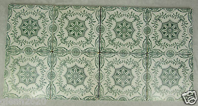 Victorian England Transfer Tile Set 8 Green Floral Geometric Antique English