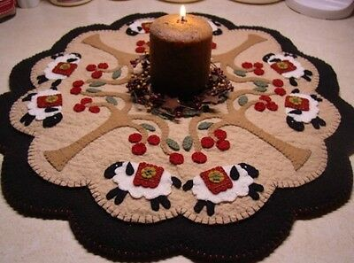 Wool Felt Candle Mat Kit, Penny Rug Kit, UNDER THE CHERRY TREES, Embroidery Kit