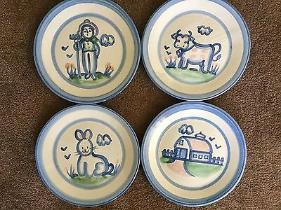 M. A. Hadley Pottery Farm Dinner Plates S/4