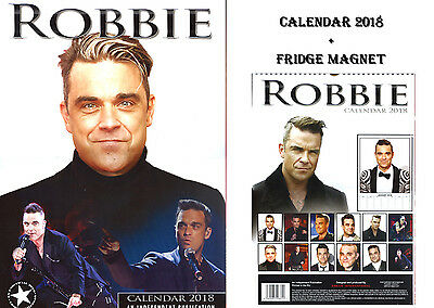 Robbie Williams Calendar 2018 + Robbie Williams Fridge Magnet