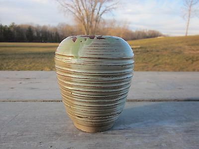 Vintage Signed Art Pottery Vase Green Ribbed Beehive Swirled Design Ca1