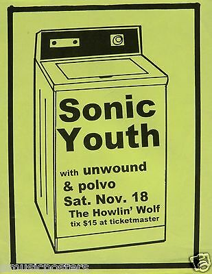 """Sonic Youth / Polvo """"washing Machine Tour"""" 1995 New Orleans Concert Tour Poster"""