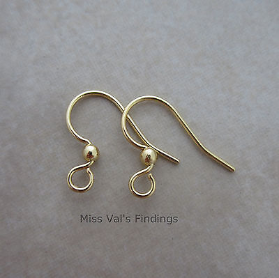 50 gold sensitive surgical steel fishhook hook ear wires earrings 21g with ball