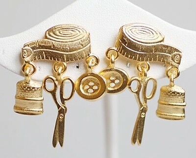Jj Vintage Sewing With Dangle Charms Thimble Shears Button Gold Tone Earrings