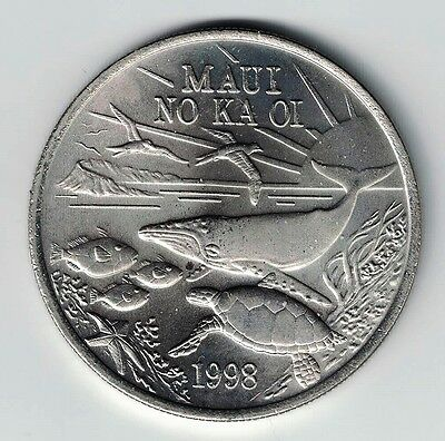 1998 MAUI TRADE DOLLAR WITH CERTIFICATE OF AUTHENTICITY CUPRO-NICKEL 39mm
