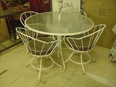 Vintage Mid Century Wrought Iron Table And Chairs