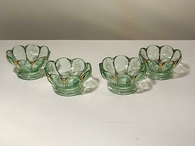 4 Northwood Nester 1903 Early American Pressed Glass Green Footed Berry Bowls