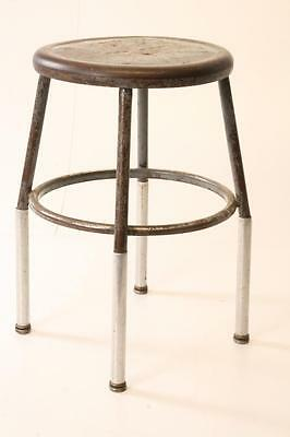 Vintage INDUSTRIAL STOOL steel metal chair gray steampunk factory old shop round