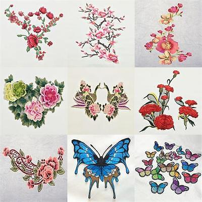 Flower Butterfly Embroidered Iron /Sew On Patches Set Badge Bag Fabric Applique