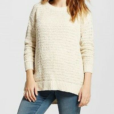 NWT LIZ LANGE Maternity tunic sweater--Cream marled chunky knit with gold--L
