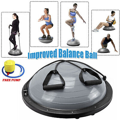 Pilates Bosu Balance Ball Gym Training Exercise Half Fitness w/ Pump & Band Yoga