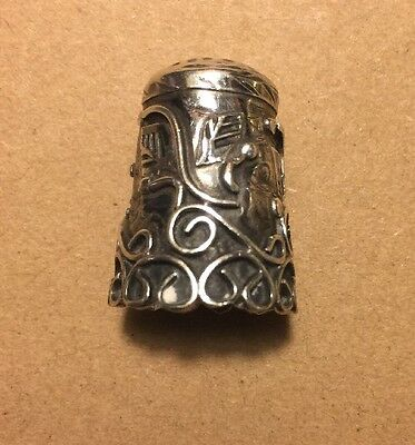 Lovely Vintage Taxco Mexico 925 Sterling Silver Sewing Thimble