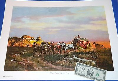"""Sunset Limited"" by Mark Storm c1982 - 19""x25"" Stagecoach Print"