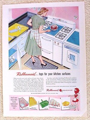 Vintage Rubbermaid Kitchen Ad 1950's Housewife Cooking Mid-Century