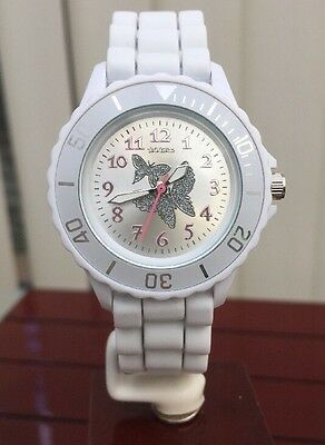 Tikkers Girls Watch NEW Silicone Analog  Lightweight White UK Seller new(848)