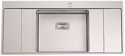 Clearwater Xeron B50 Single Bowl Double Drainer Kitchen Sink Inc Waste Kit